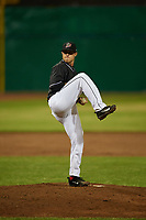 Batavia Muckdogs relief pitcher Doug Domnarski (14) delivers a pitch during a game against the West Virginia Black Bears on June 18, 2018 at Dwyer Stadium in Batavia, New York.  Batavia defeated West Virginia 9-6.  (Mike Janes/Four Seam Images)
