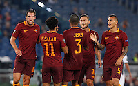 Calcio, Europa League: Roma vs Astra Giurgiu. Roma, stadio Olimpico, 29 settembre 2016.<br /> Roma's Mohamed Salah, second from left, celebrates with teammates after scoring during the Europa League Group E soccer match between Roma and Astra Giurgiu at Rome's Olympic stadium, 29 September 2016. Roma won 4-0.<br /> UPDATE IMAGES PRESS/Riccardo De Luca