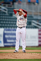 Harrisburg Senators relief pitcher Ismael Guillon (30) gets ready to deliver a pitch during the second game of a doubleheader against the New Hampshire Fisher Cats on May 13, 2018 at FNB Field in Harrisburg, Pennsylvania.  Harrisburg defeated New Hampshire 2-1.  (Mike Janes/Four Seam Images)