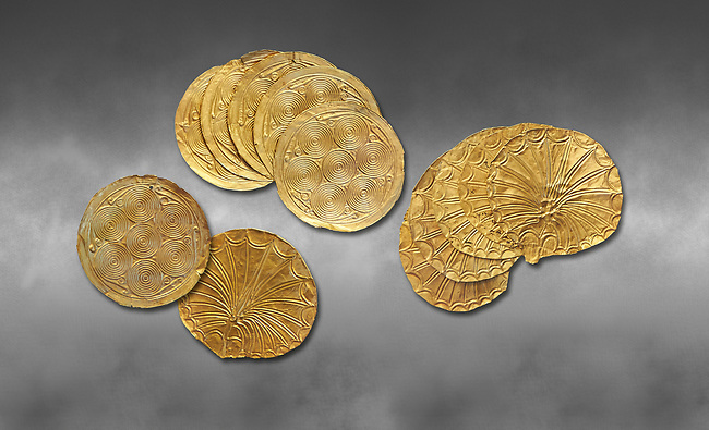 Mycenaean Gold circular buttons from Grave IV, Grave Circle A, Myenae, Greece. National Archaeological Museum Athens. 16th Cent BC. Grey art Background