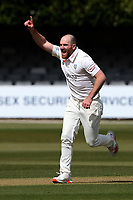 Ben Raine of Durham celebrates taking the wicket of Simon Harmer during Essex CCC vs Durham CCC, LV Insurance County Championship Group 1 Cricket at The Cloudfm County Ground on 15th April 2021