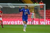 14th March 2021; Vicarage Road, Watford, Herts;  Sam Kerr  Chelsea celebrates her first goal during the FA Womens Continental Tyres League Cup final game between Bristol City and Chelsea at Vicarage Road Stadium in Watford. FA Womens Continental Tyres Cup Final