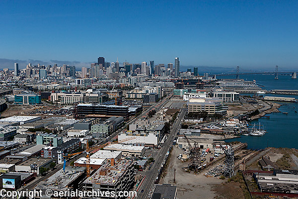 aerial photograph of construction in Mission Bay, San Francisco, California