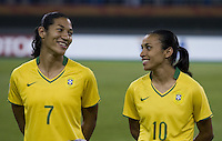 Brazil midfielder (7) Daniela and forward (10)Marta. Brazil defeated Australia, 3-2 during the quarterfinals of the FIFA Women's World Cup at Tianjin Olympic Center Stadium in Tianjin, China on September 23, 2007.
