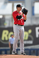 Frisco Rough Riders pitcher Jerad Eickhoff (19) looks in for the sign during the first game of a doubleheader against the Tulsa Drillers on May 29, 2014 at ONEOK Field in Tulsa, Oklahoma.  Frisco defeated Tulsa 13-4.  (Mike Janes/Four Seam Images)