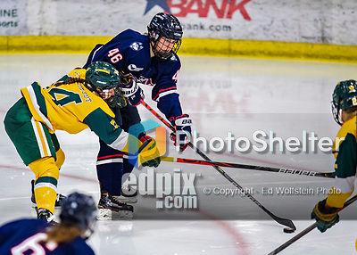 8 February 2020: University of Connecticut Husky Forward Danielle Fox, a Sophomore from Unionville, Ontario, in third period action against the University of Vermont Catamounts at Gutterson Fieldhouse in Burlington, Vermont. The Huskies defeated the Lady Cats 4-2 in the first game of their weekend Hockey East series. Mandatory Credit: Ed Wolfstein Photo *** RAW (NEF) Image File Available ***