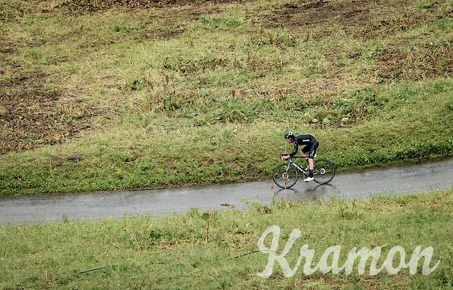 Tiesj Benoot (BEL/DSM) descending the Col du Pré (HC/1748m) towards the Barrage de Roselend in, yet again, grim conditions.<br /> <br /> Stage 9 from Cluses to Tignes (145km)<br /> 108th Tour de France 2021 (2.UWT)<br /> <br /> ©kramon