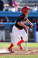 Batavia Muckdogs outfielder Pat Biserta (5) during the first game of a double header vs. the Connecticut Tigers at Dwyer Stadium in Batavia, New York July 10, 2010.   Batavia defeated Connecticut 5-3.  Photo By Mike Janes/Four Seam Images