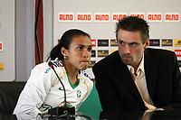 Marta (BRA) mit Dolmetscher Markus Hörwig<br /> PK zum Laenderspiel Deutschland vs. Brasilien *** Local Caption *** Foto ist honorarpflichtig! zzgl. gesetzl. MwSt. Auf Anfrage in hoeherer Qualitaet/Aufloesung. Belegexemplar an: Marc Schueler, Am Ziegelfalltor 4, 64625 Bensheim, Tel. +49 (0) 151 11 65 49 88, www.gameday-mediaservices.de. Email: marc.schueler@gameday-mediaservices.de, Bankverbindung: Volksbank Bergstrasse, Kto.: 151297, BLZ: 50960101