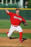 June 20th 2008:  Pitcher Thomas Eager (17) of the Batavia Muckdogs, Class-A affiliate of the St. Louis Cardinals, during a game at Frontier Field in Rochester, NY - home of the Rochester Red Wings.  Photo by:  Mike Janes/Four Seam Images