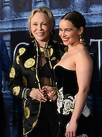 Emilia Clarke + Faye Dunaway @ the Los Angeles premiere of HBO 'Game of Thrones' season 6 held @ the Chinese theatre.<br /> April 10, 2016