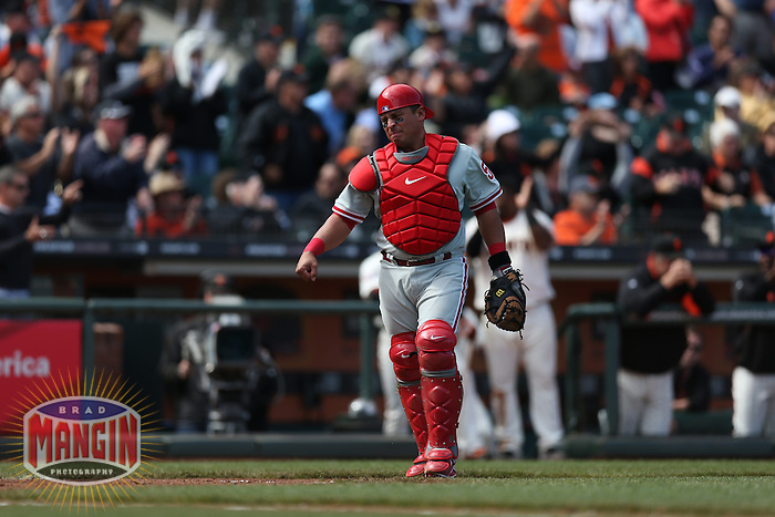 SAN FRANCISCO, CA - MAY 8:  Carlos Ruiz #51 of the Philadelphia Phillies stands on the field against the San Francisco Giants during the game at AT&T Park on Wednesday, May 8, 2013 in San Francisco, California. Photo by Brad Mangin