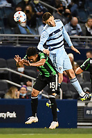 KANSAS CITY, KS - MAY 9: Ilie Sanchez #6 Sporting KC heads the ball during a game between Austin FC and Sporting Kansas City at Children's Mercy Park on May 9, 2021 in Kansas City, Kansas.
