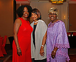 Waterbury, CT 061519MK06 (from left) Gloria Hunter, Joyce Mackey and Sharon Stallings gathered with the Zion Baptist Church to bid farewell to the Rev. Calbert Brantley and family at the Courtyard by Marriott Saturday evening.   Michael Kabelka / Republican-American