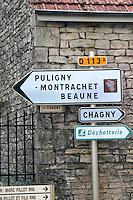 road sign savigny-les-beaune cote de beaune burgundy france