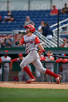 Williamsport Crosscutters Hunter Hearn (25) hits a home run during a NY-Penn League game against the Batavia Muckdogs on August 27, 2019 at Dwyer Stadium in Batavia, New York.  Williamsport defeated Batavia 11-4.  (Mike Janes/Four Seam Images)