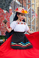 Girls wearing traditional Mexican costumes, Northwest Folklife Festival 2016, Seattle Center, Washington, USA.