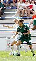 Niki Cross #4 holds off Stephanie Cox...Saint Louis Athletica and LA Sol, played to a 0-0 tie at Robert Hermann Stadium in St Louis, MO. April 25 2009.