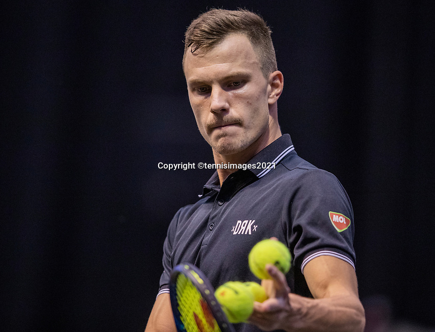 Rotterdam, The Netherlands, 27 Februari 2021, ABNAMRO World Tennis Tournament, Ahoy, Qualyfying match: Marton Fucsovics (HUN)<br /> Photo: www.tennisimages.com/henkkoster