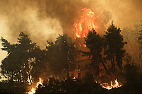 Pictured: Flames approach a house at the village of Pefki in northern Evia siland, Greece. Sunday 08 August 2021<br /> Re: Forest fire in northern Evia, Greece.