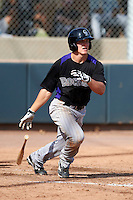 Colorado Rockies minor league outfielder Derek Jones #66 during an instructional league game against the San Francisco Giants at the Salt River Flats Complex on October 4, 2012 in Scottsdale, Arizona.  (Mike Janes/Four Seam Images)