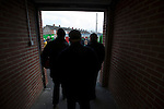 Glentoran 2 Cliftonville 1, 22/10/2016. The Oval, NIFL Premiership. Home supporters making their way out of the main stand at The Oval, Belfast after Glentoran hosted city-rivals Cliftonville in an NIFL Premiership match. Glentoran, formed in 1892, have been based at The Oval since their formation and are historically one of Northern Ireland's 'big two' football clubs. They had an unprecendentally bad start to the 2016-17 league campaign, but came from behind to win this fixture 2-1, watched by a crowd of 1872. Photo by Colin McPherson.