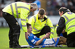 St Mirren v St Johnstone...19.10.13      SPFL<br /> Steven MacLean in pain as he is stretchered off<br /> Picture by Graeme Hart.<br /> Copyright Perthshire Picture Agency<br /> Tel: 01738 623350  Mobile: 07990 594431
