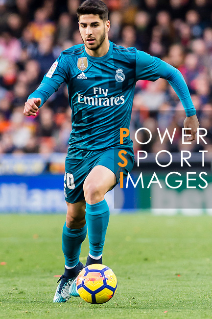 Marco Asensio Willemsen of Real Madrid in action during the La Liga 2017-18 match between Valencia CF and Real Madrid at Estadio de Mestalla  on 27 January 2018 in Valencia, Spain. Photo by Maria Jose Segovia Carmona / Power Sport Images