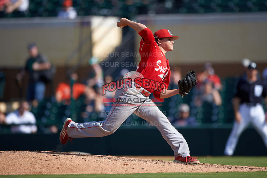 Florida Southern Moccasins relief pitcher Chase Pilato (18) delivers a pitch during an exhibition game against the Detroit Tigers on February 29, 2016 at Joker Marchant Stadium in Lakeland, Florida.  Detroit defeated Florida Southern 7-2.  (Mike Janes/Four Seam Images)