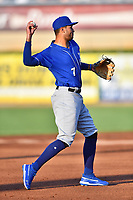 Biloxi Shuckers third baseman Jake Gatewood (7) throws to first base during a game against the Tennessee Smokies at  on August 10, 2019 in Kodak, Tennessee. The Shuckers defeated the Smokies 7-3. (Tony Farlow/Four Seam Images)