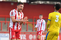 Ben Coker of Stevenage FC scores the first Goal and celebrates during Stevenage vs Concord Rangers , Emirates FA Cup Football at the Lamex Stadium on 7th November 2020