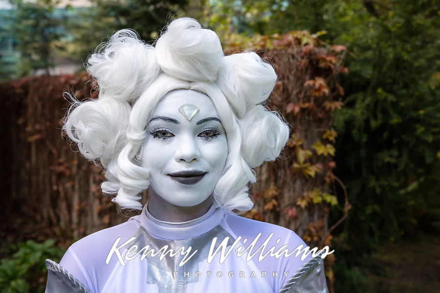 White Diamond from Steven Universe Series by Amadara Ojuara, Miss Suju Cosplay, Sakura Con 2019, Seattle, WA, USA.