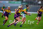 Kerry's Louise Galvin gets past Wexford's Sarah Harding Kenny and Kellie Kearney in the Lidl LGFA National football league game in Fitzgerald Stadium Killarney on Sunday.