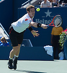 Andy Murray (GBR) loses to Stanislaus Wawrinka (SUI) 6-4,6-3, 6-2 to win the first set (GBR) at the US Open being played at USTA Billie Jean King National Tennis Center in Flushing, NY on September 5, 2013