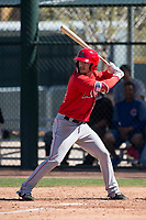 Los Angeles Angels left fielder Orlando Martinez (32) during a Minor League Spring Training game against the Chicago Cubs at Sloan Park on March 20, 2018 in Mesa, Arizona. (Zachary Lucy/Four Seam Images)
