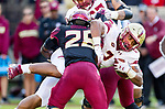 Florida State linebacker DeCalon Brooks upends Boston College running back AJ Dillon in the first half of an NCAA college football game in Tallahassee, Fla., Saturday, Nov. 17, 2018. (AP Photo/Mark Wallheiser)