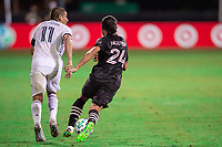 LAKE BUENA VISTA, FL - JULY 14: Alejandro Bedoya #11 of the Philadelphia Union and Lee Nguyen #24 of Inter Miami battle for the ball during a game between Inter Miami CF and Philadelphia Union at Wide World of Sports on July 14, 2020 in Lake Buena Vista, Florida.