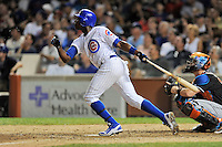 Chicago Cubs left fielder Alfonso Soriano #12 swings at a pitch during a game against the Miami Marlins at Wrigley Field on July 17, 2012 in Chicago, Illinois. The Marlins defeated the Cubs 9-5. (Tony Farlow/Four Seam Images).