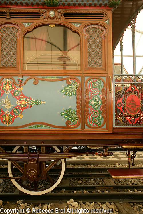 Detail of the Sultan's train carriage (1867) at the Rahmi M. Koç Museum, Istanbul, Turkey
