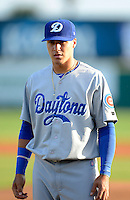 Daytona Cubs shortstop Javier Baez #12 during introductions before a game against the Brevard County Manatees at Spacecoast Stadium on April 5, 2013 in Melbourne, Florida.  Daytona defeated Brevard County 8-0.  (Mike Janes/Four Seam Images)