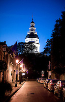 Maryland State House.Annapolis MD Maryland Eastern Shore Virginia Chesapeake Bay.Main Street Annapolis Downtown