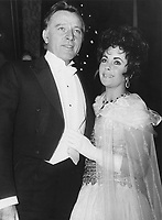 Richard Burton and Elizabeth Taylor attend the Royal Film Performance in London, February 1967.