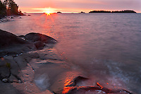 Sunrise light on the shore of Lake Superior in Rock Harbor; Isle Royale National Park, MI