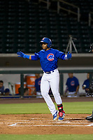 AZL Cubs left fielder Nelson Velazquez (20) celebrates while touching home plate after hitting a home run against the AZL Padres 2 on August 28, 2017 at Sloan Park in Mesa, Arizona. AZL Cubs defeated the AZL Padres 2 9-4. (Zachary Lucy/Four Seam Images)