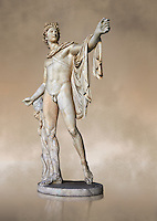 Three quarter view of a  2nd century AD Roman statue of Apollo known as the Belvederre Apollo. The Apollo statue originally had a bow in its left hand and Apollo is depiceted having just fired an arrow.  Probably a Roman copy of a Hellenistic statue from around 330-320 BC by Leochares. Inv 1015, Vatican Museum Rome, Italy,  art background
