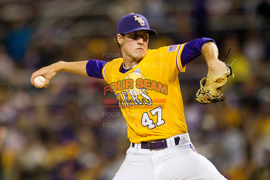 Starting pitcher Ben Alsup #47 of the LSU Tigers in action against the Wake Forest Demon Deacons at Alex Box Stadium on February 18, 2011 in Baton Rouge, Louisiana.  The Tigers defeated the Demon Deacons 15-4.  Photo by Brian Westerholt / Four Seam Images