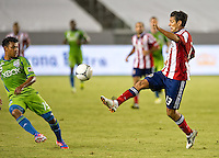 CARSON, CA - August 25, 2012: Chivas USA defender Ante Jazic (13) during the Chivas USA vs Seattle Sounders match at the Home Depot Center in Carson, California. Final score, Chivas USA 2, Seattle Sounders 6.