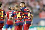 FC Barcelona's Neymar Santos Jr celebrates goal during La Liga match.September 12,2015. (ALTERPHOTOS/Acero)