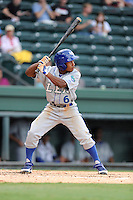 Outfielder Terrance Gore (6) of the Lexington Legends in a game against the Greenville Drive on Sunday, August 18, 2013, at Fluor Field at the West End in Greenville, South Carolina. Greenville won Game 2 of a doubleheader, 1-0. (Tom Priddy/Four Seam Images)
