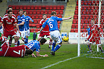 St Johnstone v Aberdeen…22.04.16  McDiarmid Park, Perth<br />Steven Ancdersons goal is disallowed<br />Picture by Graeme Hart.<br />Copyright Perthshire Picture Agency<br />Tel: 01738 623350  Mobile: 07990 594431
